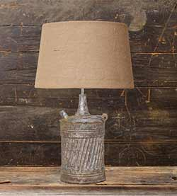 Rusty Jug Table Lamp with Burlap Shade