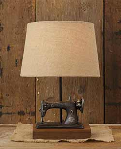 Sewing Machine Table Lamp with Burlap Shade