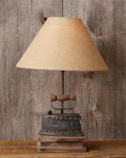 Antique Iron Table Lamp with Burlap Shade
