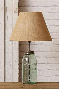Mason Jar Table Lamp with Burlap Shade - Green Glass