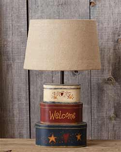 Welcome Boxes Table Lamp with Burlap Shade
