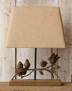 Rustic Bird Table Lamp with Burlap Shade
