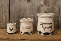 Cow, Pig, & Rooster Canisters (Set of 3)