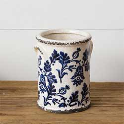 Blue & White Floral Pottery Crock - Small