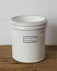 White Cottage Stoneware Large Crock