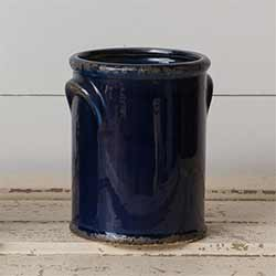 Navy Blue Pottery Crock - Medium