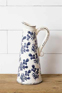 Blue & White Floral Pottery Pitcher