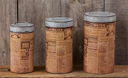 Large Galvanized Metal Canisters with Antique Newsprint (Set of 3)