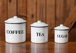 White Enamelware Canisters (Set of 3)