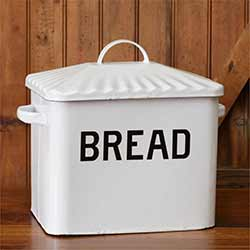 White Enamelware Bread Box