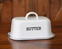 White Enamelware Covered Butter Dish