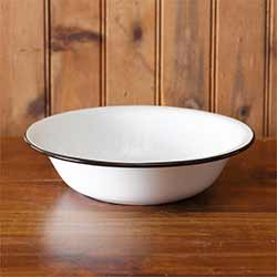 White Enamelware Bowls (Set of 2)