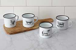 Farm Animal Enamelware Mugs (Set of 4)