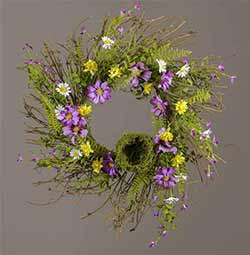 Purple and Yellow Daisy Floral Wreath