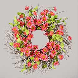 Pink Daisy Twig Wreath