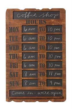 Rustic Business Hours Chalkboard