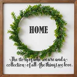 Home Framed Sign with Wreath