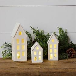 White Stoneware Light Up Saltbox House