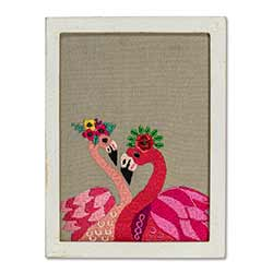Flamingos with Flowers Wall Art