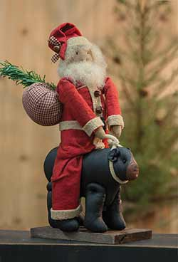 Santa & Black Bear Primitive Doll