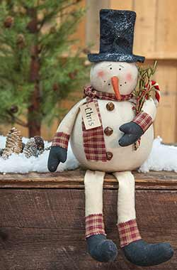 Primitive Christmas Snowman Doll with Candy Cane