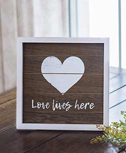 Love Lives Here Framed Shelf Sitter