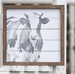 Farmhouse Cow Framed Sign