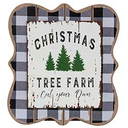 Christmas Tree Farm Buffalo Check Tabletop Sign