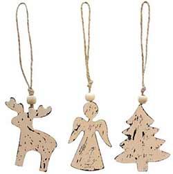 Angel, Tree, Reindeer Ornaments (Set of 3)