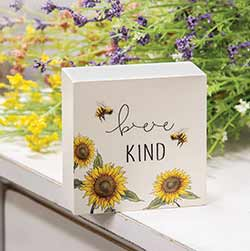 Bee Kind Sunflower Box Sign