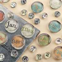 Vintage Type Month/Day Magnet Set