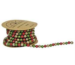 Mini Bead Garland - Red, Green, & Ivory