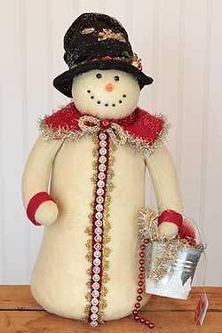 Snowman with Red Coat and Pail
