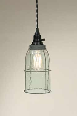 Mason Jar Caged Pendant Lamp - Barn Roof