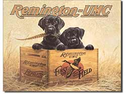 Puppies & Remington Tin Sign