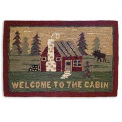 Welcome to the Cabin Hooked Rug