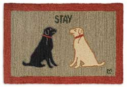 Stay Dog Hooked Rug