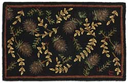 Willows and Cones Hooked Rug