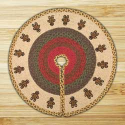 Gingerbread Men Braided Jute Christmas Tree Skirt - 30 inch
