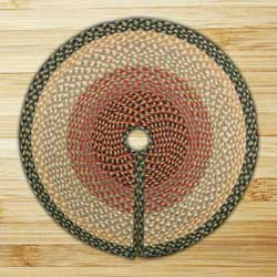 Burgundy, Gray, and Creme Braided Jute Christmas Tree Skirt - 30 inch