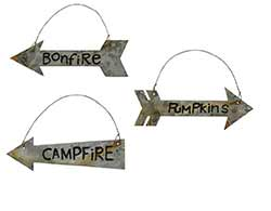 Tin Campfire Arrow Ornaments (set of 3)