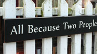 All Because Two People Fell In Love Handmade Sign - Black