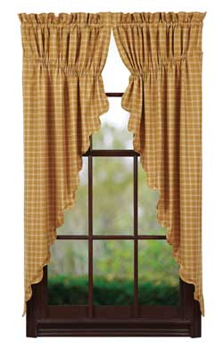 VHC Brands Amherst Prairie Curtain (Gold Plaid)