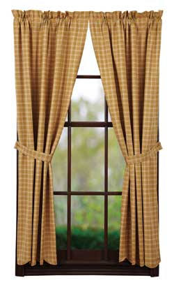 VHC Brands (Victorian Heart) Amherst Panels - 63 inch (Gold Plaid)