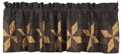 VHC Brands (Victorian Heart) Amherst Valance with Patchwork (Black, Browns, Gold)