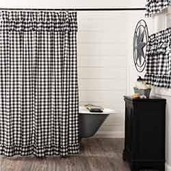 Annie Buffalo Black Check Ruffled Shower Curtain