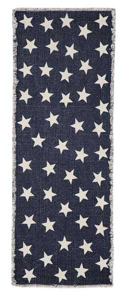 Antique Navy Star Table Runner, 36 inch