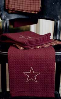 Victorian Heart Burgundy Applique Star Waffle Weave Towel