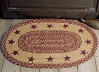 Burgundy and Tan Jute Rug with Stars (Multiple Size Options)