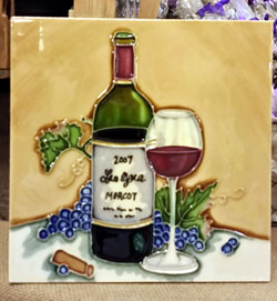 Wine Bottle & Glass Art Tile